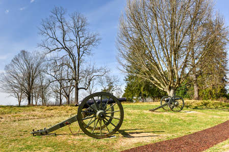 Cannons on a Battlefield in Fredericksburg, Virginia Stock Photo