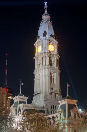 City Hall tower in the Center City district of Philadelphia, Pennsylvania. Stock Photo