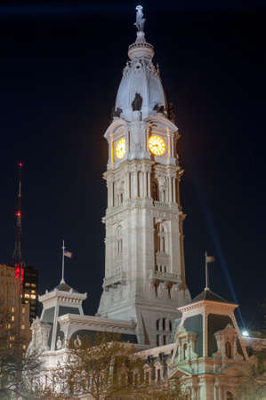 pa: City Hall tower in the Center City district of Philadelphia, Pennsylvania. Stock Photo