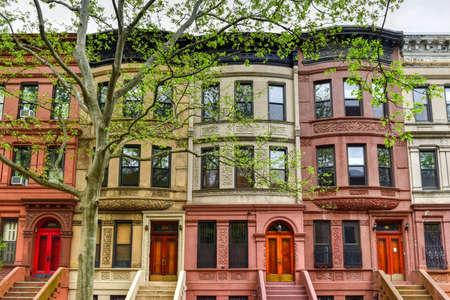 new age: Brownstones in the Harlem Neighborhood of New York City.