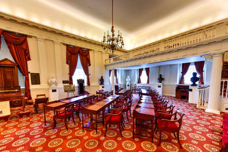 Richmond, Virginia - 19 februari 2017: Oude Kamer in het Virginia Capitool in Virginia, Virginia. Redactioneel