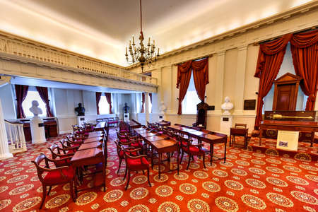 Richmond, Virginia - 19 februari 2017: Oude Kamer in het Virginia Capitool in Virginia, Virginia. Redactioneel