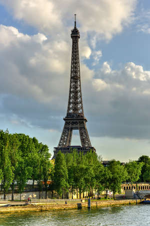 The Eiffel Tower, a wrought iron lattice tower on the Champ de Mars in Paris, France. Stock Photo