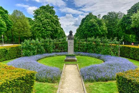 Monument in memory of Robert Schuman in the Parc du Cinquantenaire in Brussels, Belgium. Editorial