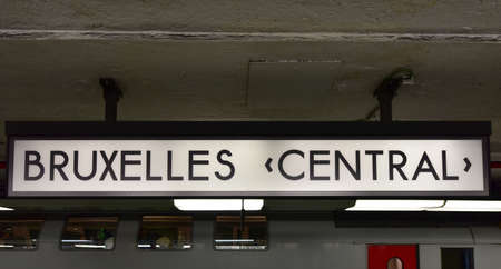 Brussels Central Station sign. It is also known as Bruxelles-Central / Brussel-Centraal. Redactioneel
