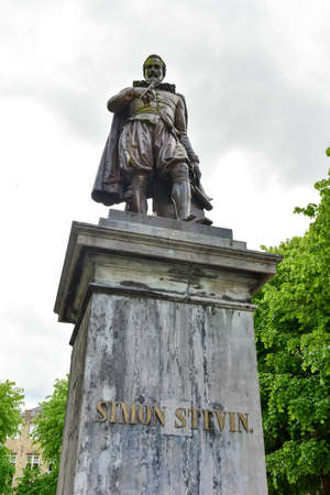 Bronze statue of Simon Stevin, mathematician and physicist, Bruges, Belgium