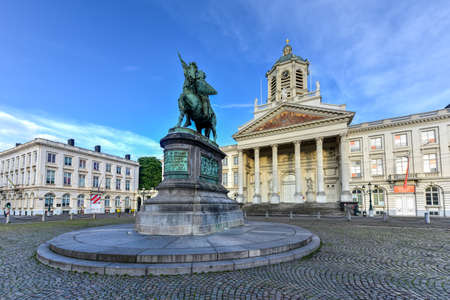 Godfrey of Bouillon statue and Church of Saint Jacques-sur-Coudenberg in Royal Square, Brussels, Belgium. Editorial