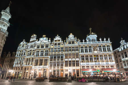 Guild Houses in the Grand Place in Brussels, Belgium at night.