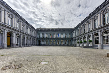 The Egmont Palace is a large mansion at the Rue aux Laines (Wolstraat) and the Petit Sablon Square in Brussels, Belgium. Today it houses the Belgian Ministry of Foreign Affairs. Stock Photo