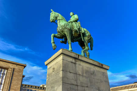 Equestrian statue of King Albert I (design Alfred Courtens), it was unveiled in 1951. Mont des Arts is dedicated to memory of Albert I, known as soldier king, one of Belgiums most popular monarchs.