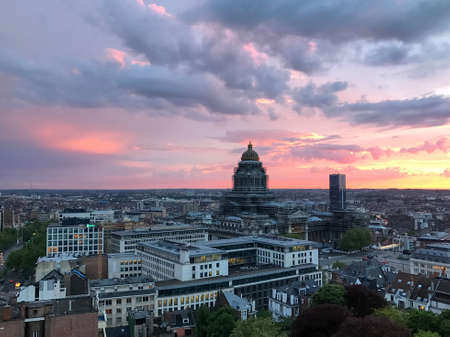 Aerial view of the Brussels city skyline at sunset in Belgium. 新闻类图片