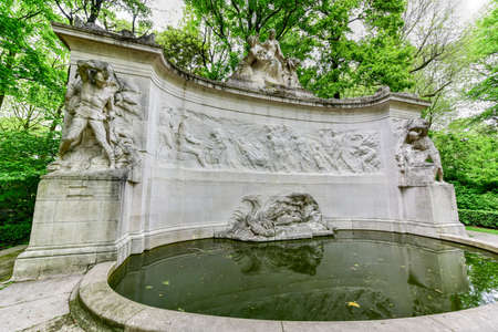 Monument to the Fallen of the Belgian Colonial Effort in Parc du Cinquantenaire in Brussels, Belgium Stock Photo
