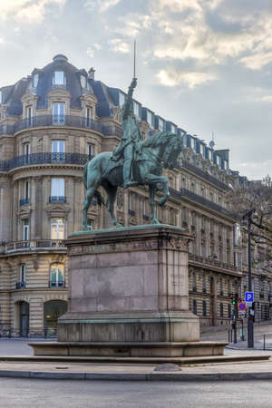 Statue of George Washington on horseback in Place dIena in Paris, France.