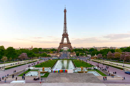 The Eiffel Tower, a wrought iron lattice tower on the Champ de Mars in Paris, France. Editöryel