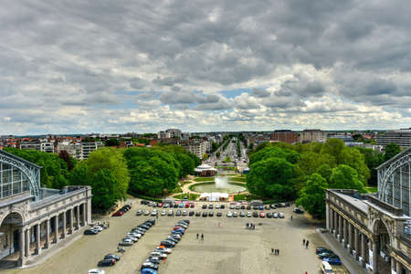 View from the Triumphal arch (Arc de Triomphe) in Cinquantenaire park in Brussels, was planned for National Exhibition of 1880 to commemorate 50th anniversary of the independence of Belgium.