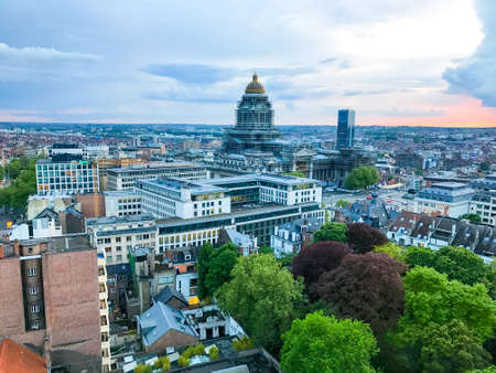 Aerial view of the Brussels city skyline at sunset in Belgium. Editorial