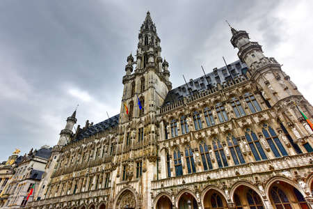 The Grand Place on a cloudy day in Brussels, Belgium