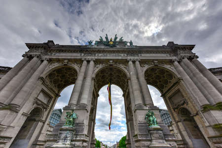 Triumphal arch (Arc de Triomphe) in Cinquantenaire park in Brussels, was planned for National Exhibition of 1880 to commemorate 50th anniversary of the independence of Belgium.
