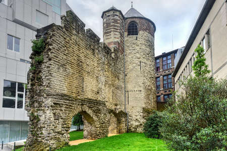 Ruin of the old medieval city wall and Anneessens Tower, Brussels, Belgium 写真素材