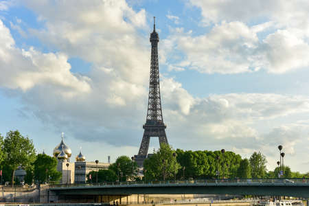 champ: The Eiffel Tower, a wrought iron lattice tower on the Champ de Mars in Paris, France. Stock Photo