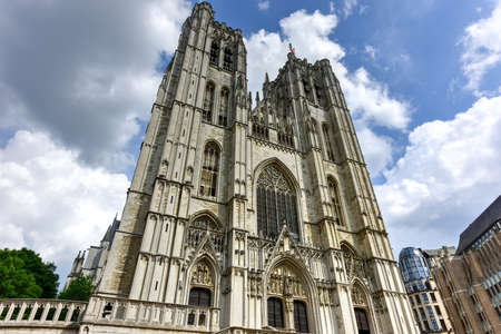 Cathedral of St. Michael and St. Gudula in Brussels, Belgium Stock Photo