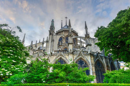 Notre-Dame de Paris (Our Lady of Paris), is a French Gothic medieval Catholic cathedral on the Ile de la Cite in the fourth arrondissement of Paris, France. Stock Photo