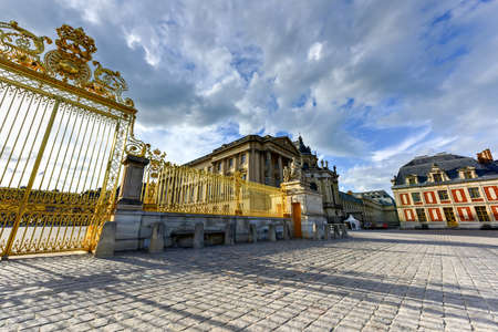 rebuilt: Royal Gates of Versailles Palace in France, rebuilt after three centuries.