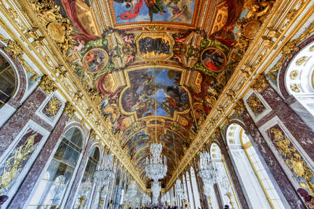 The Hall of Mirrors in the Palace of Versailles in France.