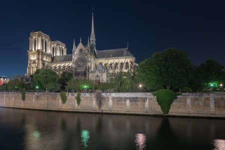 ile de la cite: Notre-Dame de Paris (Our Lady of Paris), is a French Gothic medieval Catholic cathedral on the Ile de la Cite in the fourth arrondissement of Paris, France. Stock Photo