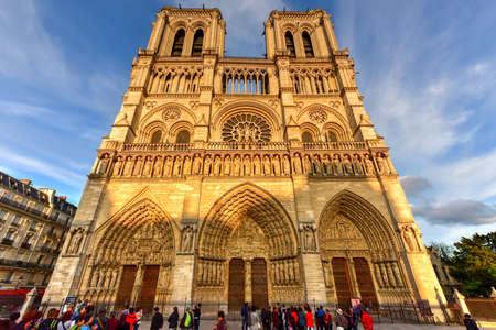 Paris, France - May 14, 2017: Notre-Dame de Paris (Our Lady of Paris), is a French Gothic medieval Catholic cathedral on the Ile de la Cite in the fourth arrondissement of Paris, France. Editorial