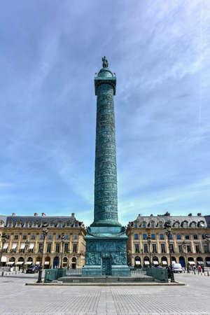 The Place Vendome Column in Paris, France