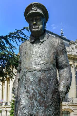 Statue of Winston Churchill outside the Petit Palais near the Seine River, Paris, France