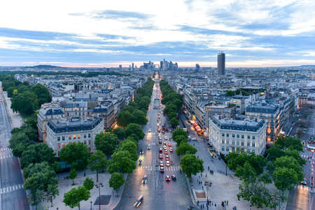 View of the Paris city skyline into the distance at dusk. Stok Fotoğraf