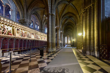The interior of the Notre Dame de Paris, France Stock Photo - 81906620