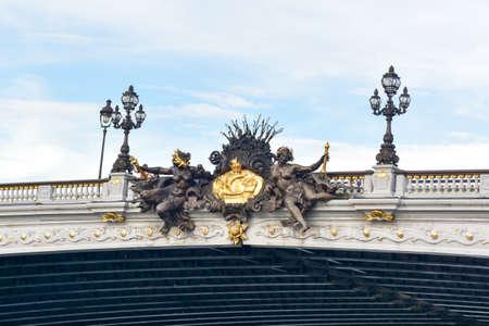 Alexandre III Bridge located in Paris, France. The Pont Alexandre III is a deck arch bridge that spans the Seine in Paris.