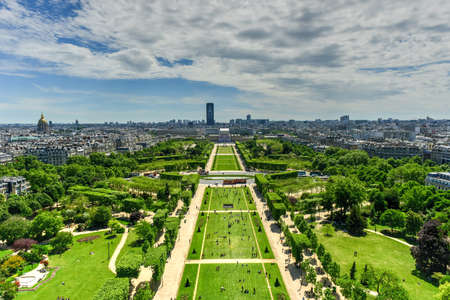 Aerial panoramic view of Paris and Champ de Mars from Eiffel Tower in Paris, France