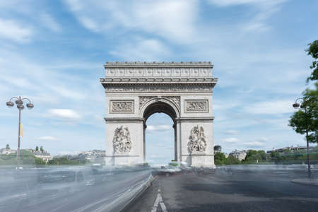 The Arc de Triomphe de lEtoile, (Triumphal Arch of the Star) is one of the most famous monuments in Paris, standing at the western end of the Champs-elysees at the center of Place Charles de Gaulle. Editorial