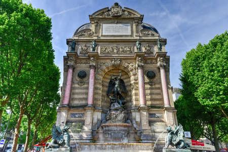 The Fontaine Saint-Michel is a monumental fountain located in Place Saint-Michel in the 5th arrondissement in Paris. Editorial