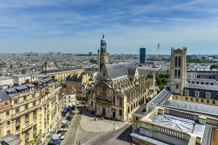 The Saint-Etienne-du-Mont Church in Paris - aerial view Editorial