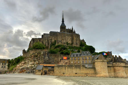 Beautiful Mont Saint-Michel cathedral on the island, Normandy, Northern France, Europe.