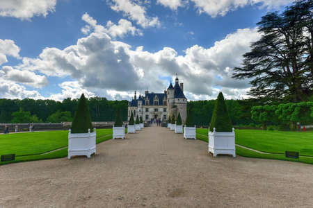 Chenonceaux, France - May 20, 2017: Gardens around Chateau de Chenonceau, near Chenonceaux in France Editorial
