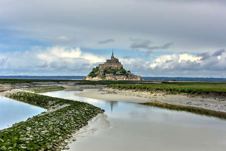 heritage protection: Beautiful Mont Saint-Michel cathedral on the island, Normandy, Northern France, Europe.
