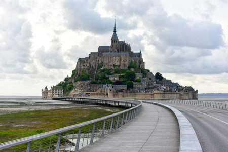 normandy: Beautiful Mont Saint-Michel cathedral on the island, Normandy, Northern France, Europe.