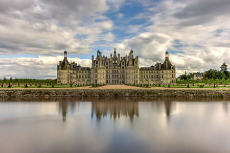 Chateau de Chambord, the largest castle in the Loire Valley. A UNESCO world heritage site in France. Built in the XVI century, it is now a property of the French state Stock Photo