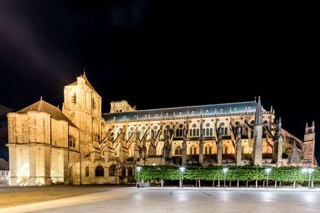 Bourges Cathedral, Roman Catholic church located in Bourges, France at night. It is dedicated to Saint Stephen and is the seat of the Archbishop of Bourges.