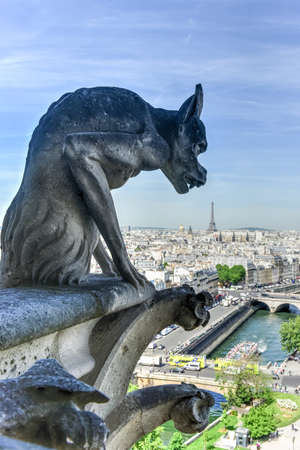 The Paris skyline from the Notre Dame de Paris, Cathedral in France. Stock Photo - 89980390