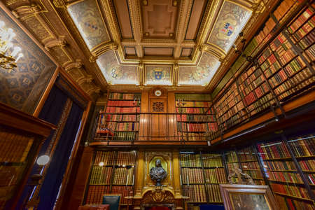 chantilly: Library at Chateau de Chantilly, France.