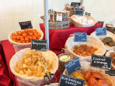 French sweets for sales in Chantilly, France.