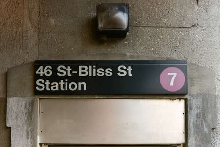 Sign for the 46 Street - Bliss Street Station on the 7 line in Long Island City, New York on the NYC Subway system.