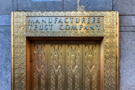 Merveilleux Manufacturers Hanover Trust Company Bank Former Bronze Door Entrance In  Midtown Manhattan At The New Yorker